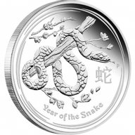 Australia 2013 1$ Year of the Snake Lunar Series II Proof Silver Coin