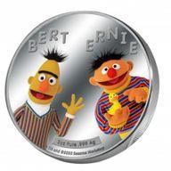 Bert and Ernie Sesame Street 2 oz Proof Silver Coin 5$ Samoa 2021