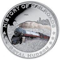 Liberia 2011 5$ Royal Hudson. History of Railroads Proof Silver Coin