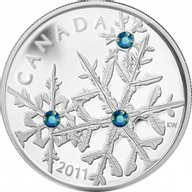 Canada 2011 20$ Montana Blue Small Crystal Snowflake  (2011) Proof Silver Coin