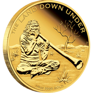 Australia 2013 25$ Didgeridoo 2013. The Land Down Under 1/4 oz Proof Gold Coin