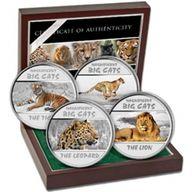 Big Cats Proof Silver Set 4 x 30 franc Congo 2011