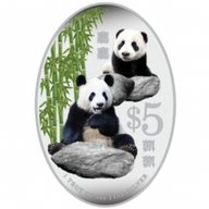 Giant Panda Proof Silver Coin 5$ Singapore 2012