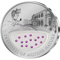 Fiji 2012 1$ Uruguay - the Land of Amethysts. Treasures of Mother Nature Proof Silver Coin