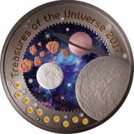 Treasures of the Universe Moon 1 oz BU Silver Coin 5 Cedis Republic of Ghana 2017