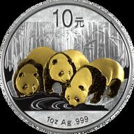 China 2013 10 Yuan China Silver Panda - Gold-plated BU Silver Coin