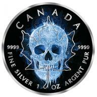 Maple Leaf Ice Skull 1oz Black Ruthenium BU Silver Coin 5$ Canada 2017