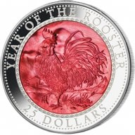 Cook Islands 2017 25$  Lunar 2017 - Year of the Rooster 5 oz with Mother of Pearl Proof Silver Coin