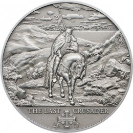 The Last Crusader Holy Crusades Antique finish Silver Coin 5$ Cook Islands 2017