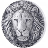 The Lion Big Five Mauquoy Edition 1 kilo Antique finish Silver Coin 10000 francs Ivory Coast 2017