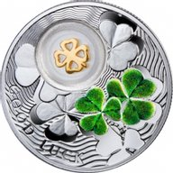 Niue 2014 1$ Four-Leaf Clover Symbols of Luck 1/2 Oz Proof Silver Coin