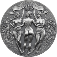 The Three Graces Celestial Beauty 2 oz Antique finish Silver Coin 2000 Francs Cameroon 2020