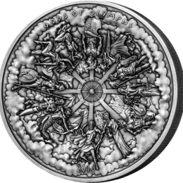 "Cook Islands 2016 50$ Multiple Layer Kilo Coin ""Gods of Olympus"" Antique finish Silver Coin"