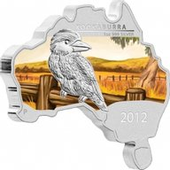 Kookaburra - map-shape Proof Silver Coin 1 $ Australia 2012