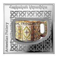 Armenian Vase Ancient Pottery 1oz Proof Silver Coin 1000 dram Armenia 2018