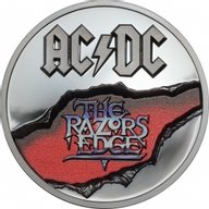 The Razors Edge AC/DC 2 oz Proof Silver Coin 10$ Cook Islands 2019