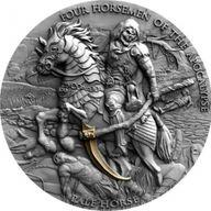 Pale Horse Four Horsemen Of The Apocalypse 2 oz Antique finish Silver Coin 5$ Niue 2021