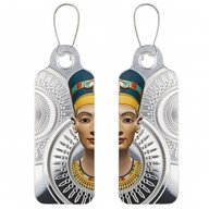 Egyptian Queen Nefertiti - Earrings Proof Silver Coin 2 x 200 Francs CFA Cameroon 2018