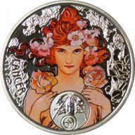 Niue 2011 1$ Cancer A. Mucha Zodiac Proof Silver Coin