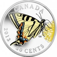 Canada 2013 50-Cent Canadian Tiger Swallowtail Butterflies of Canada  Silver Plated Coin