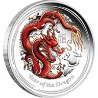 Year of the Dragon Coloured Proof Silver Coin 1$ Australia 2012