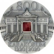 Karakorum 800th Anniversary 2 oz Antique finish Silver Coin Mongolia 2020 5000 togrog