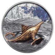 1001 Nights Magical Lamp 1 oz Black Proof Silver Coin 5$ Palau 2021