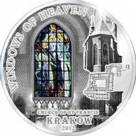 Cook Islands 2012 10$ Basilica of St. Francis - KRAKOW Windows Of Heaven Proof Silver Coin