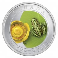 Canada 2014 25 cent Water Lily with Leopard Frog (2014) CuNi Coin