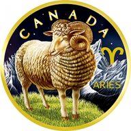 Maple Leaf Zodiac - Aries 1 oz BU Silver Coin 5$ Canada 2019