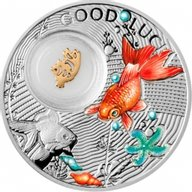 Niue 2014 1$ Goldfish Symbols of Luck 1/2 Oz Proof Silver Coin