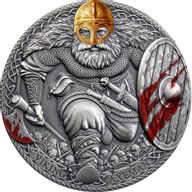 Viking Axeman Legendary Warriors 3 oz Antique finish Silver Coin 3000 Francs CFA Cameroon 2020