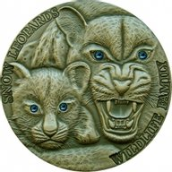 Niue 2015 1$ Snow Leopards Wildlife Family 1oz Antique finish Silver Coin