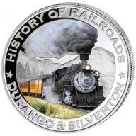 Liberia 2011 5$ Durango & Silverton. History of Railroads Proof Silver Coin