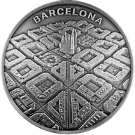 Barcelona Labyrinth From Drone Eye View 2 oz Antique finish Silver Coin 2000 Francs CFA Cameroon 2021