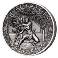 Retiarius The Gladiators 2 oz Antigue finish Silver Coin 5$ Solomon Islands 2017