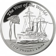 Tuvalu 2016 1$ The War of the Worlds - The HMS Thunder Child Famous Ships That Never Sailed 1 oz Proof Silver Coin