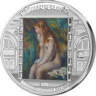 """100th Anniversary Renoir """"Young Girl Bathing"""" Masterpieces of Art 3 oz Proof Silver Coin 20$ Cook Islands 2019"""