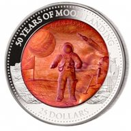 50 Years of Moonlanding Mother of Pearl 5 oz Proof Silver Coin 25$ Solomon Islands 2019