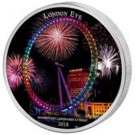 London Eye Landmarks at Night  2oz BU Silver Coin 2000 Francs Ivory Coast 2018