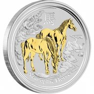 Australia 2014 1$ Australian Lunar Series II 2014 Year of the Horse GILDED EDITION  1oz Silver Proof Coin