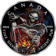 Armageddon III Grim Reaper Maple Leaf 1oz Black Ruthenium BU Silver Coin 5$ Canada 2018
