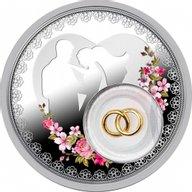 Niue 2016 2$ Wedding coin Gold Plated Proof Silver Coin