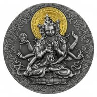 Ancient Buddha 2 oz Antique finish Silver Coin 2000 Francs Cameroon 2020