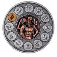 Aquarius Zodiac Signs 1oz Antique finish Silver Coin 1$ Niue 2020
