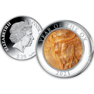 Year of the OX Mother of Pearl 5 oz Proof Silver Coin 25$ Cook Islands 2021