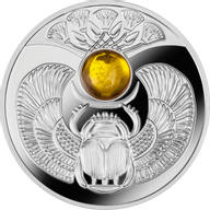 Niue 2015 1$ Amber Scarab Beetle Proof Silver Coin