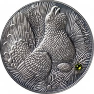 Andorra 2014 10 diners Wood Grouse Europe - Atlas of Wildlife Antique finish Silver Coin
