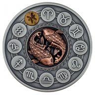 Pisces Zodiac Signs 1oz Antique finish Silver Coin 1$ Niue 2020