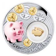 Piggy Symbols of Luck 1/2 Oz Proof Silver Coin 1$ Niue 2014